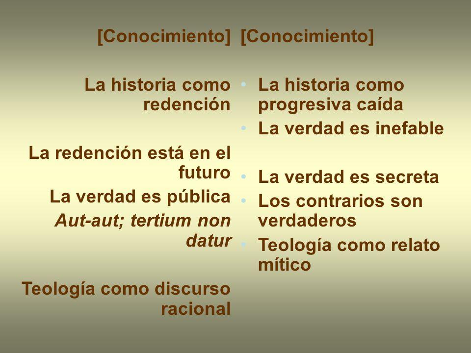 [Conocimiento] La historia como redención. La redención está en el futuro. La verdad es pública. Aut-aut; tertium non datur.